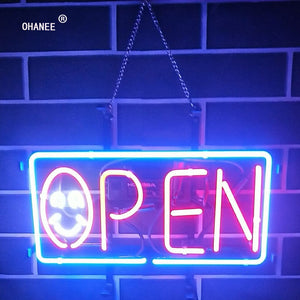 Open Neon Sign Light Real Glass Neon Tube HandMade Beer Bar Shop Logo Pub Store Club Nightclub Advertise