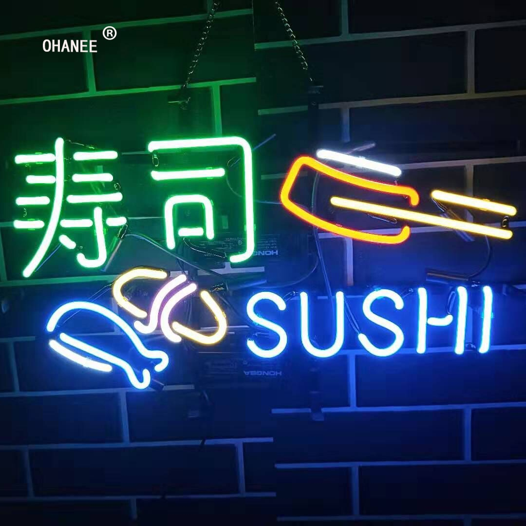 Sushi Japanese Food Neon Sign Light  Real  Glass Neon Tube HandMade Beer Bar Shop Logo Pub Store Club Nightclub Advertise