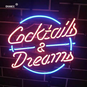 Cocktails Dreams  Neon Sign Light Real Glass Neon Tube HandMade Beer Bar Shop Logo Pub Store Club Garage Nightclub Advertise