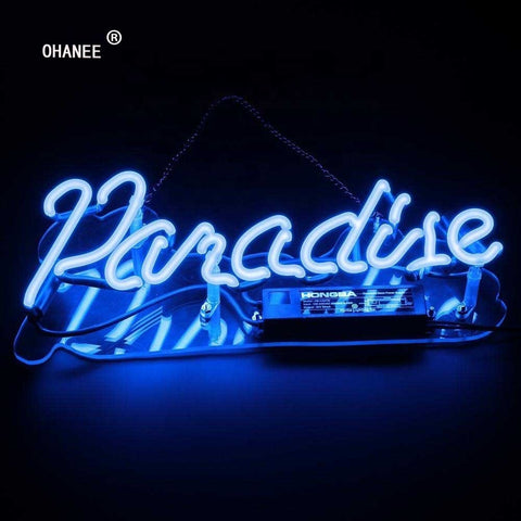Custom for Paradise Neon Sign Light Real Glass Neon Tube HandMade Shop Logo Pub Store Advertise