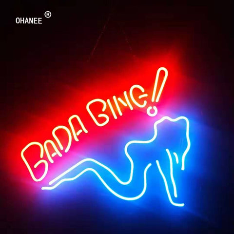 OHANEE Custom Bada Bing Girl Sign Light Real Glass Neon Tube HandMade Beer Bar Shop Logo Pub Store Club Garage Nightclub
