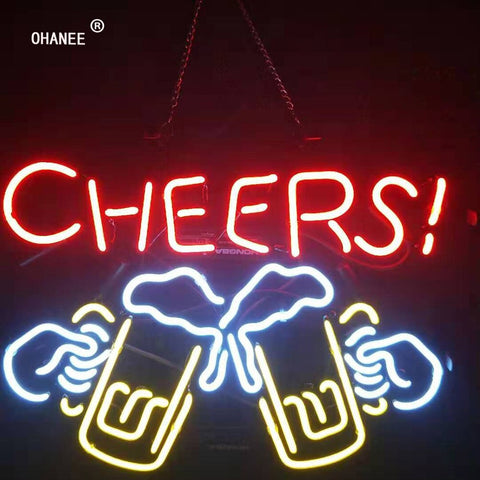 Custom Beer Bar Cheers  Neon Sign Light Real Glass Neon Tube HandMade Shop Logo Pub Store Advertise