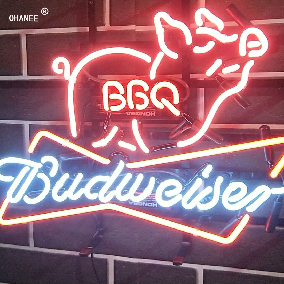 Custom for Budweiser BBQ  Beer Bar Busch Light Deer  Neon Sign Light Real Glass Neon Tube HandMade Shop Logo Pub Store Advertise