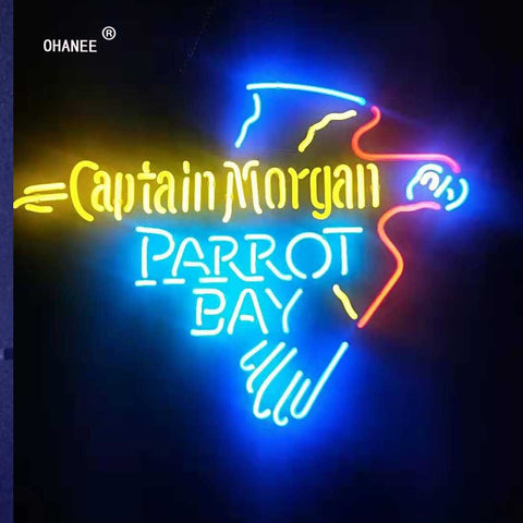 Custom for Captain Morgan Parrot Bay Light Deer Neon Sign Light Real Glass Neon Tube HandMade Shop Logo Pub Store