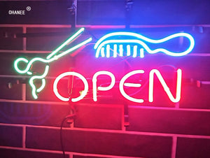 Custom Hair Cut Open Hairdresser's Shop  Barbar's  Neon Sign Light  Real Glass Neon Tube HandMade Shop Logo Pub Store Advertise