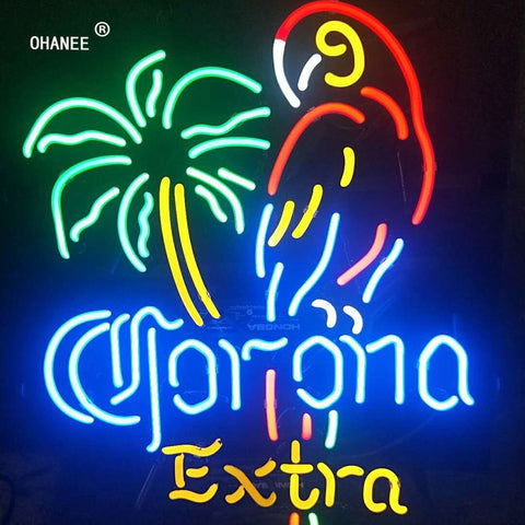 Custom for Corona Extra Parrot Palm Tree Neon Sign Light Glass Neon Tube HandMade Beer Bar Shop Logo Pub Store Club Nightclub