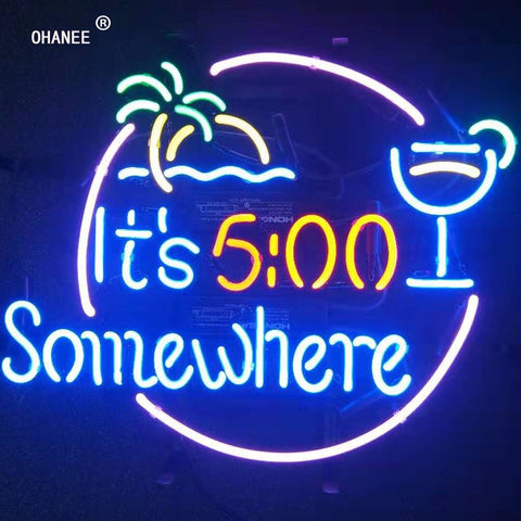 Its 500 Somewhere It's 5:00 Neon Sign Light Real Glass Neon Tube HandMade Beer Bar Shop Logo Pub Store Club Garage Nightclub