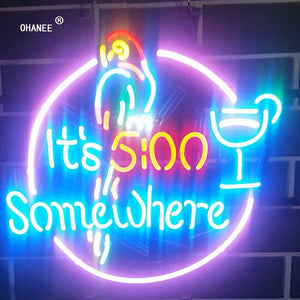 Its 500 Somewhere It's 5:00 Neon Sign 5 O'clock Parrot  Light Real Glass Neon Tube HandMade Beer Bar Shop Logo Pub Store Club