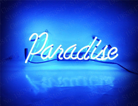 Paradise  Gift Neon Signs Real Glass Tube  Beer Bar Pub Homeroom Girlsroom Party Decor 14x7