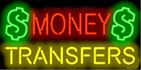 "17*14"" Money Transfers NEON SIGN REAL GLASS BEER BAR PUB LIGHT SIGNS store display  Restaurant  Shop Business Advertising Lights"