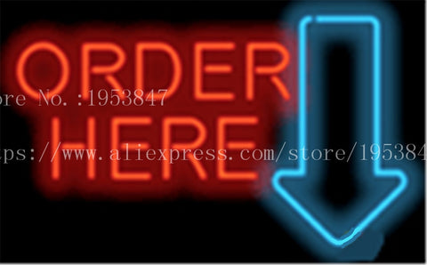 "Large Order Here with Arrow Neon sign Real Glass Tube Bulbs Light Bar Beer Club Decoration Custom Signs Signboard 17""x14"""