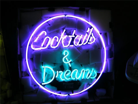 NEON SIGN For Cocktails and Dreams Signage Club REAL GLASS BEER BAR PUB  display  Signboard  outdoor Light Signs 17*14""