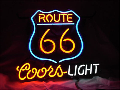 NEON SIGN For ROUTE 66 COORS LIGHT BEER Signboard REAL GLASS BEER BAR PUB  display   christmas Light Signs 17*14""