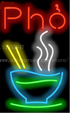 Pho NEON SIGN Noodle soup FOOD Real GLASS Tube Beer PUB Restaurant Signboard display Decorate Shop Home Decor Light Signs 17*14""