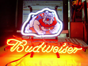 Business NEON SIGN board For  FRESNO STATE BULLDOGS BUDWEISER Baseball REAL GLASS Tube BEER BAR PUB Club Shop Light Signs 17*14""