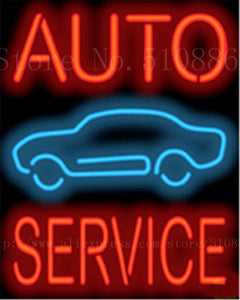 "Auto Service Car  Repair Real Glass Tube Car neon sign Garage Handcrafted Automotive signs Shop Store Business Signboard 19""x15"""