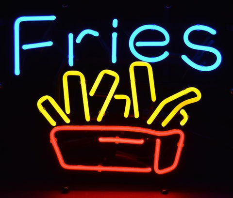 Decor neon sign french fries Diner Restaurant Food Real Burger joint Open hot dogs