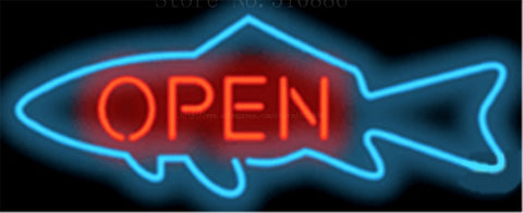 "Fish Open neon sign Handcrafted Light Bar Beer Pub Club signs Shop Business Signboard diet food diner break 17""x14"""