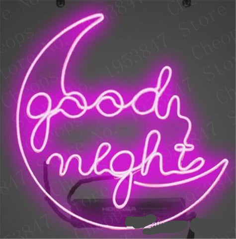 Good Night Moon Gift Neon Signs Real Glass Tube Beer Bar Pub Handmade Homeroom Girlsroom Party Decor Light Sign 14 inch