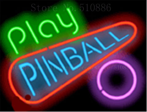 "17*14"" Play Pinball NEON SIGN REAL GLASS BEER BAR PUB LIGHT SIGNS store display Packing occasional Bulbs Advertising Lights"