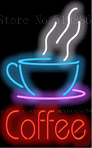 "Coffee Cup Cafe Neon sign Real Glass Tube Bulbs Light Bar Beer Club Custom Neon signs Store Decoration Demor Signboard 17""x14"""