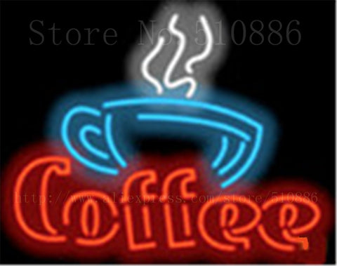 "Coffee with Cup Neon sign Real Glass Tube Bulbs Light Bar Beer Club Decoration Signboard The internet Espresso drink 17""x14"""