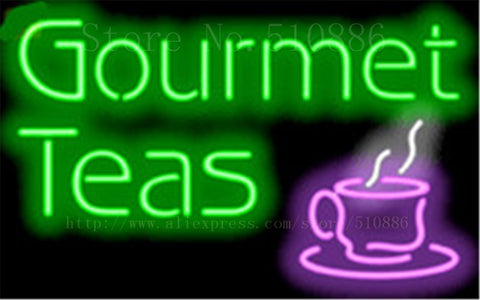 "Gourmet Teas Neon sign Real Glass Tube Bulbs Light Bar Beer Club Decoration Signboard The internet Espresso drink 17""x14"""