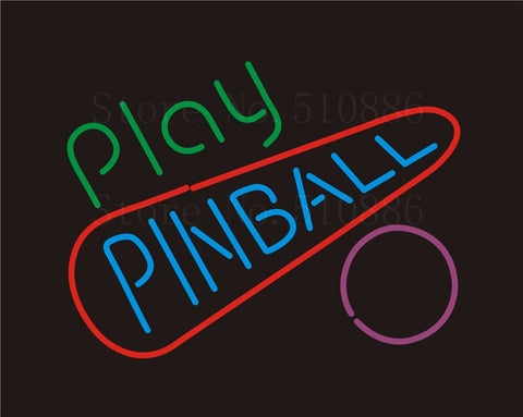 Custom NEON Sign Board Play Pinball Glass Tube Beer Bar Club Pub Party Display Store Shop Light Signboard Signage Signs 17*14""