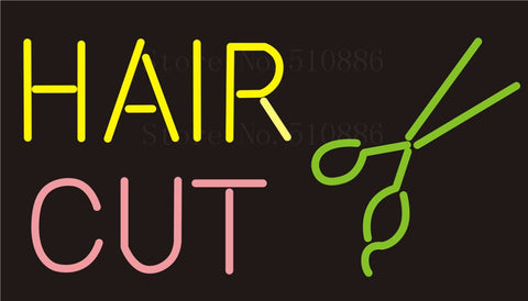 Custom NEON Sign Board Hair Cut Salon Recipe Hairstyle Glass Tube Club Display Store Shop Light Signboard Signage Signs 17*14""