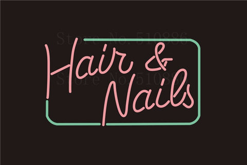Custom NEON Sign Board Hair&Nail Salon Glass Tube Party Bar Club Pub Display Store Shop Light Signboard Signage Signs 17*14""