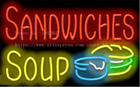 "Sandwiches Soup Neon sign Real Glass Tube Bulbs Light Bar Beer Club Decoration Custom Signs Signboard Bread Store Shop  17""x14"""