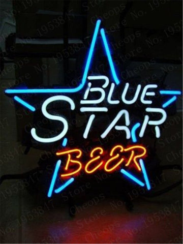 Blue Star Gift Neon Signs Real Glass Tube Moon and Star Beer Bar Pub Homeroom Girlsroom Party Decor 16x12