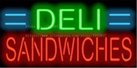 "Deli Sandwiches Neon sign Real Glass Tube Bulbs Light Bar Beer Club Decoration Custom Signs Signboard Bread Store Shop  17""x14"""