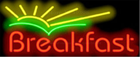 "Breakfast with Sunrise neon sign Handcrafted Light Bar Beer Pub Club signs Shop Business Signboard diet food diner break 17""x14"""