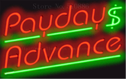 "17*14"" Payday Advance NEON SIGN REAL GLASS BEER BAR PUB LIGHT SIGNS store display  Restaurant  Shop Business Advertising Lights"