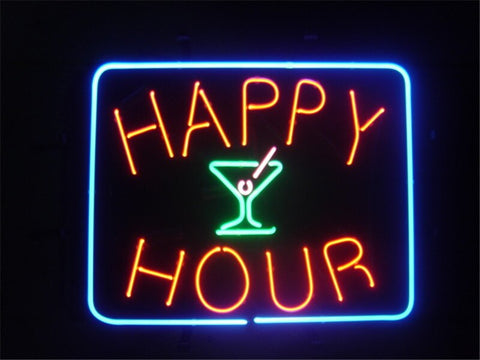 "17*14""  HAPPY HOUR  LIGHT BEER NEON SIGN REAL GLASS BEER BAR PUB LIGHT SIGNS store display  Restaurant  Shop Advertising Lights"