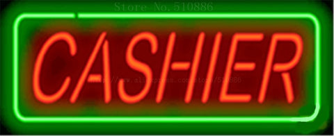 "17*14""Cashier NEON SIGN REAL GLASS BEER BAR PUB LIGHT SIGNS store display  Restaurant  Shop financial Advertising Lights"