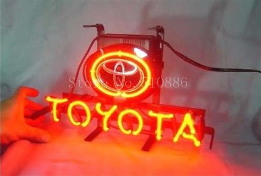 NEON SIGN For Japanese Toyota Car Brand Garage Business  Real GLASS Tube BEER BAR PUB  store display  Shop Light Signs 17*14""