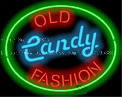 "Old Fashion Candy Food neon sign Handcrafted Light Bar Beer Pub Club signs Shop Business Signboard diet food diner break 17""x14"""
