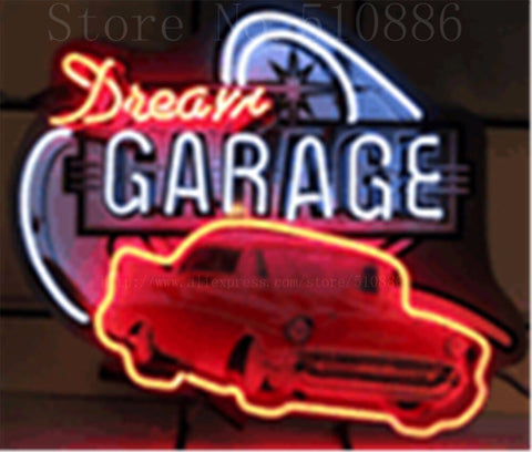 "Dream Garage 57 Chevy  Real Glass Tube neon sign Pub  Handcrafted Automotive signs Shop Store Business Signboard signage 17""x14"""