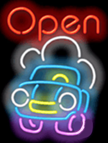 "Open with Car Rent Businese Repair Car Auto Tube neon sign Handcrafted Automotive signs Shop Store Business signage 17""x14"""