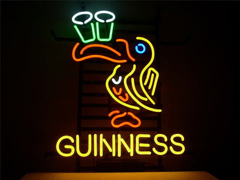 NEON SIGN For GUINNESS IRISH LAGER ALE TOUCAN  Signboard REAL GLASS BEER BAR PUB  display  outdoor Light Signs 17*14""