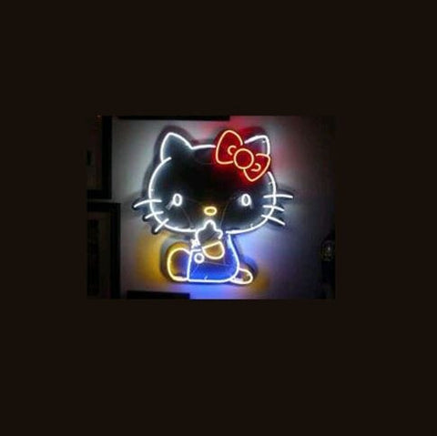 "17*14"" Cat Bow christmas NEON SIGN Signboard REAL GLASS BEER BAR PUB Billiards store display Restaurant Shop Signs Bulb"