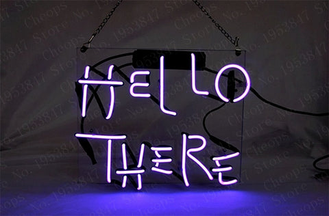 Hello There Gift Neon Signs Real Glass Tube  Open  Beer Bar Pub Homeroom Girlsroom Party Decor 14x9