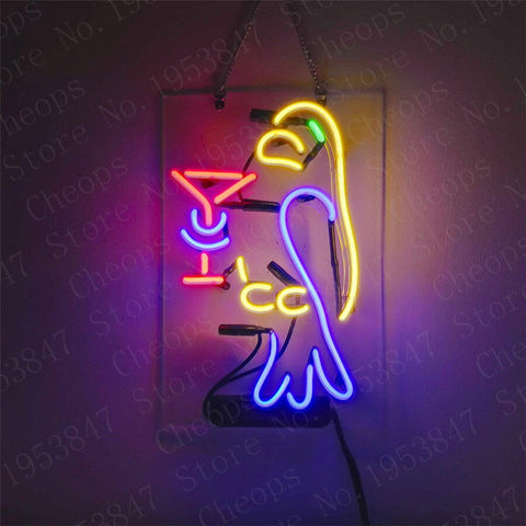 Parrot Gift Neon Signs Real Glass Tube  Beer Bar Pub Homeroom Girlsroom Party Decor 14x7