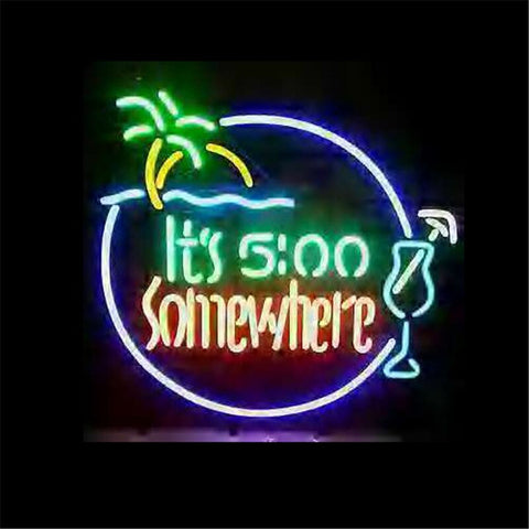 NEON SIGN ForITS 500 SOMEWHERE  Signboard REAL GLASS BEER BAR PUB  display  christmas Light Signs 17*14""