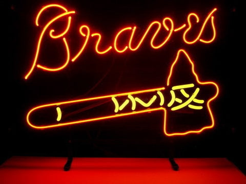 Business Custom NEON SIGN board For MLB ATLANTA BRAVES REAL GLASS Tube BEER BAR PUB Club Shop Light Signs 17*14""