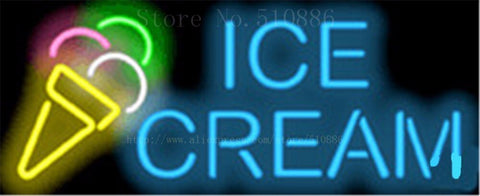 "17*14"" Ice Cream NEON SIGN REAL GLASS BEER BAR PUB LIGHT SIGNS display store Restaurant Shop drink food Advertising Lights"