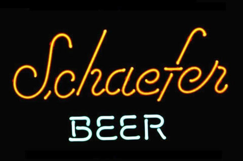 NEON SIGN For SCHAEFER BEER LOGO  Signboard REAL GLASS BEER BAR PUB  display  christmas Light Signs 17*14""