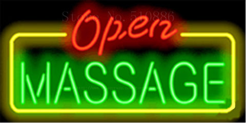 "17*14"" Massage Open NEON SIGN REAL GLASS BEER BAR PUB LIGHT SIGNS store display  Packing  Garage Bulbs Advertising Lights"
